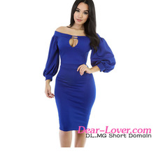 Blue Puffs Peep Hole Off Shoulder Bodycon Dress Sexy Indian Party Dress