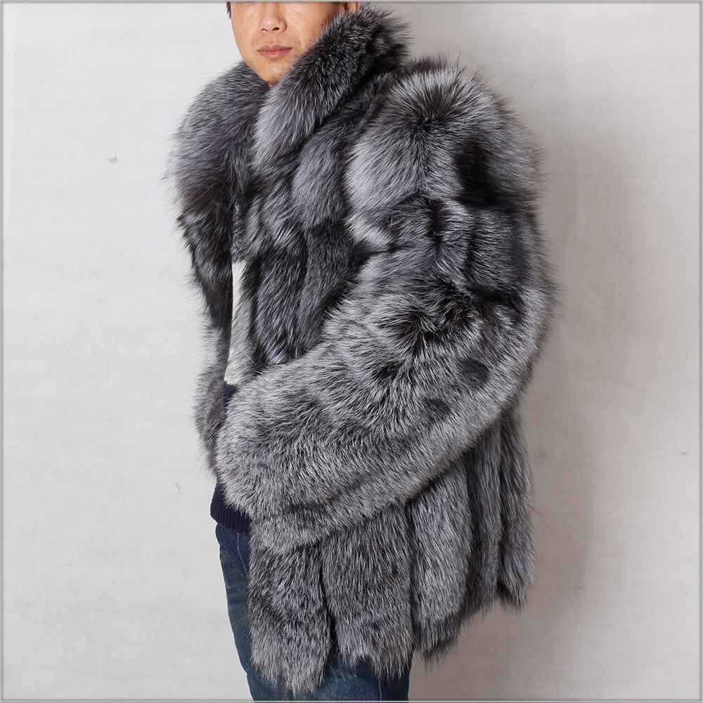 China Supplier Men Fox Fur Coat Winter Real Silver Fox