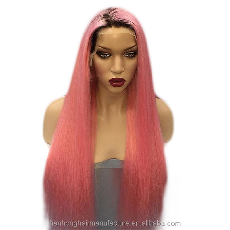 New arrival pink two tone color brazilian silky straight 2017 full lace human hair wigs