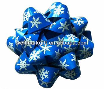 "5"" Blue Printing Snowflake Christmas Decorative Gift Ribbon Star Bow"