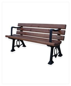 Metal footed wood bench
