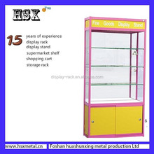 glass 3 layers with lock cosmetics display shelf HSX-341