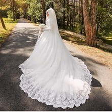 HOT SLAE high quality Arabic Muslim Wedding Dress with Beautiful Long Sleeve Hijab with Veil Lace Applique Vestido De Noiva