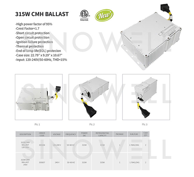 Professional Manufacturer SINOWELL 315w CMH Digital Ballast for 315w Grow Light Fixture