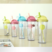 New products 2016 Promotion item of Bpa free different size plastic juice water bottle /Leak-proof keep cup with straw in bulk