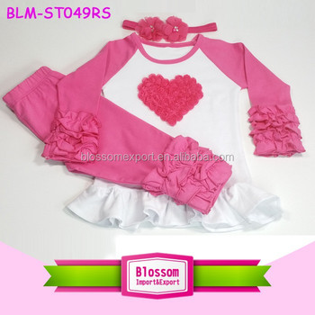 Boutique Hot Pink Heart Ruffle Raglan Shirt + Icing Pant + Headband 3pcsSet 2017 Wholesale Baby Valentines Day Girl Heart Outfit