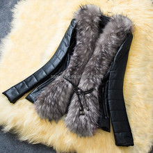 Stylish Long Sleeves Solid Color Faux Fur Collar Faux Leather Coat For Women