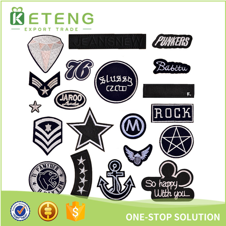 Custom cheap iron space woven label embroidery patch