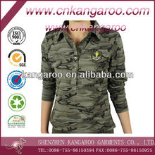 Ladies' 100% cotton jersey camouflage military T-shirt
