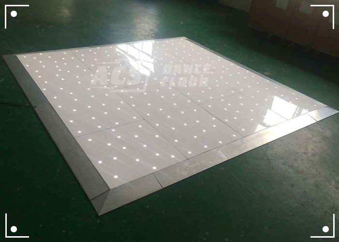 white UK led dance floor for wedding