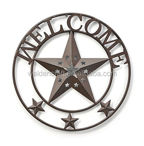 Welcome Star Western Garden Metal Wall Art 16 Round