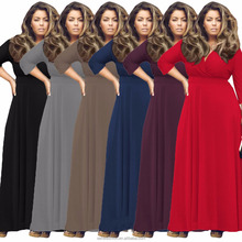 African print plus size 7 colors long sleeves fat women bodycon maxi dress