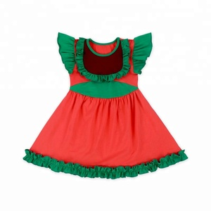 Christmas baby bib A- Line Dress baby party dress knit cotton organic baby clothes