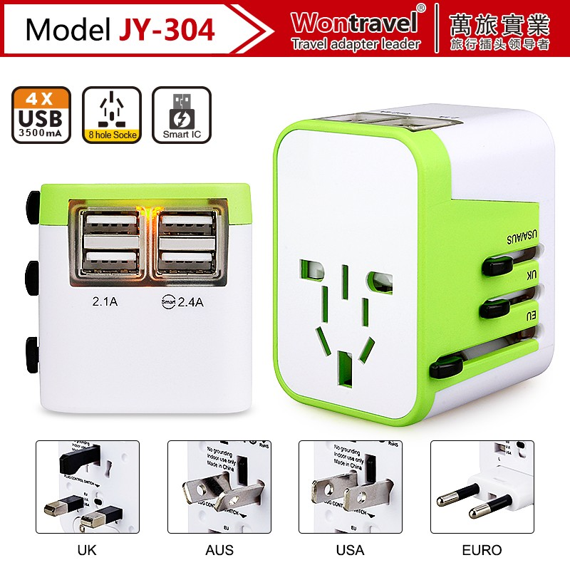 JY-304 Wontravel All in One Universal International Plug Adapter 4 USB Port World Travel Charger with AU /EU/ US/ UK Multi Plug