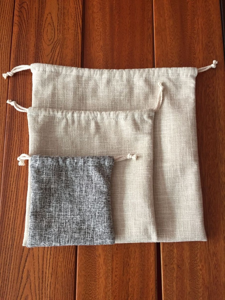 Custom High quality 16x16cm Linen Drawstring jewelry Bags lining cotton inside