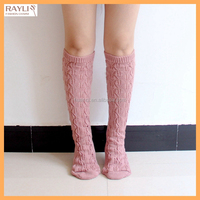 CUSTOM Cheap Price Hosiery 100% Acrylic Open Knit Leaf Design Sexy Women Knee High Socks for Winter Boots