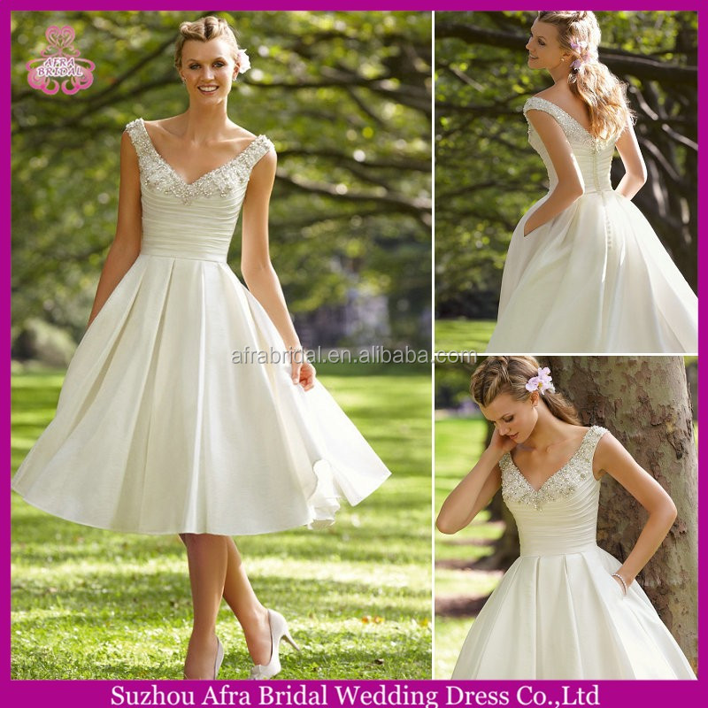 QQ255 knee length cheap satin sexy short country wedding dresses with pockets