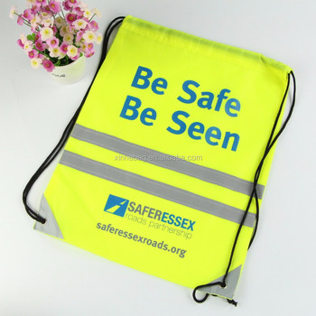 New arrival hot sale traffic safety use 420D polyester drawstring backpack with reflective strip