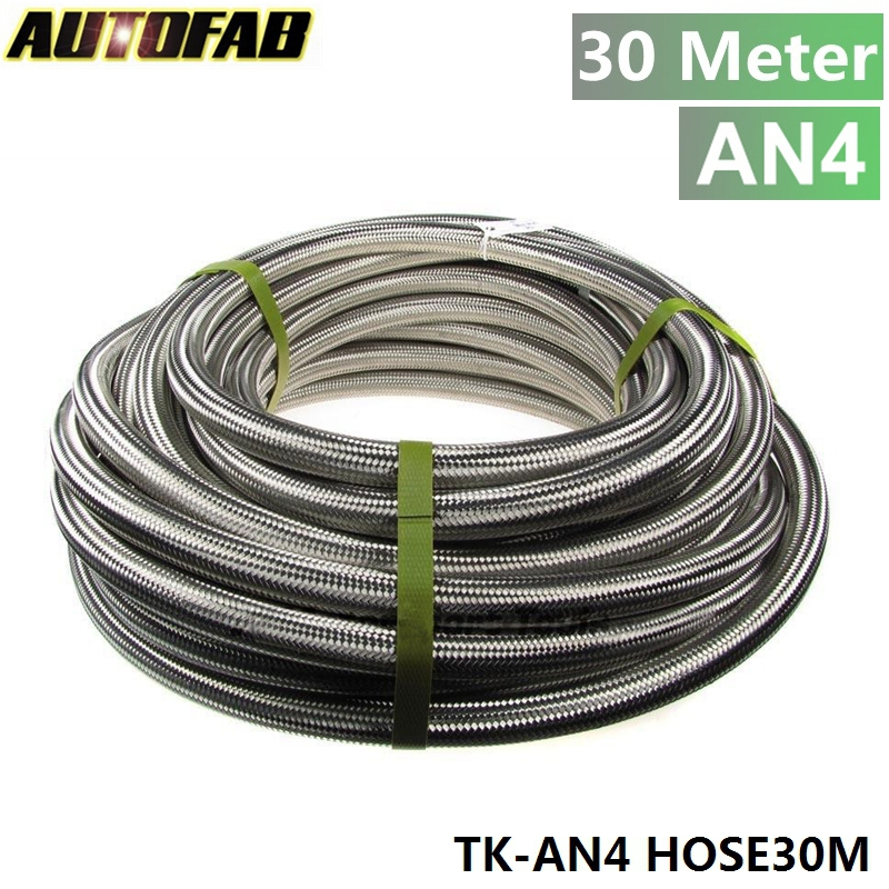 AUTOFAB - Stainless Steel Braided 30meter -4AN AN4 4-AN Oil/Fuel/Gas Line/Hose 1000Psi TK-AN4 HOSE30M