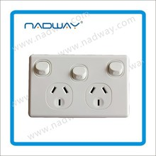 Double switched socket with removable extra switch