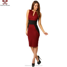 A Forever Fairness Elegant Bodycon V-Neck Ladies Office Wear Red Dress
