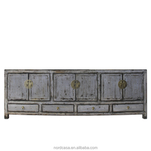 lacquered four drawer six door chinese antique style tv stand