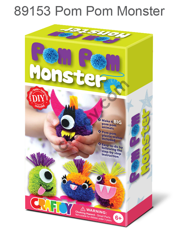 Make your pompom Monster doll pom pom craft toys diy toy do it yourself pompom doll