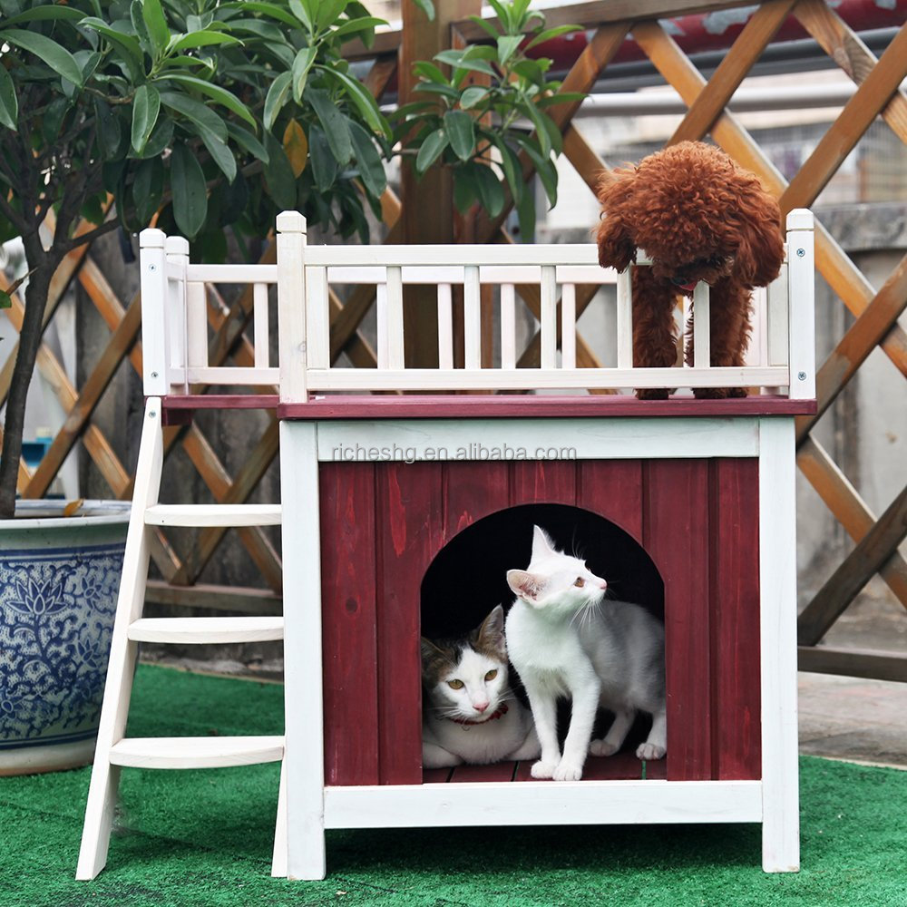 wooden Cat House with Rooftop