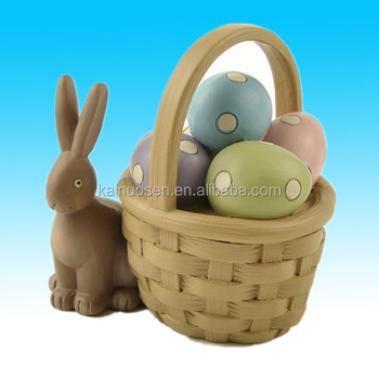 Chocolate Easter Bunny with Basket Resin Stone Sentimental Figurine Tabletop Decoration