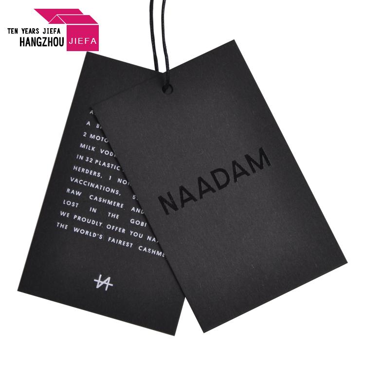 debossed or embossed black cardboard custom logo printed garment hang tags