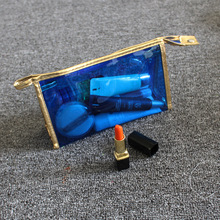 Blue waterproof clear PVC cosmetic pouch for travel
