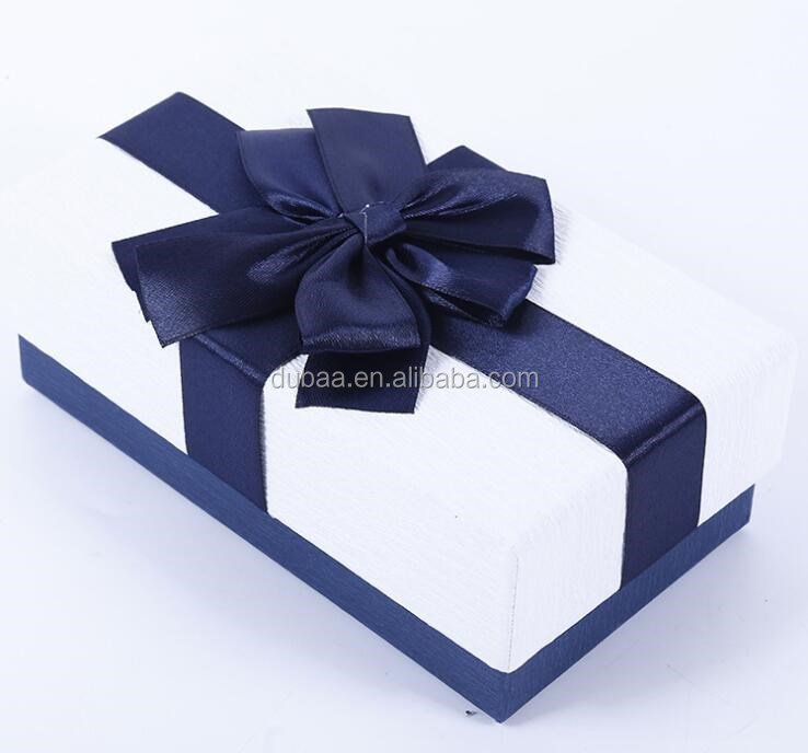 Birthday Gift Packaging Box Satin Ribbon Tie Present Paper Packing Box Case Cardboard Box with Ribbon Flower Bow Tie
