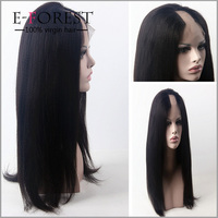 Super Quality 100% Virgin Brazilian Human Hair Glueless Full Lace U Part Wigs Yaki Straight U Part Wig For Black Women