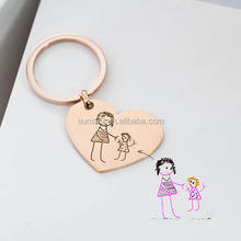 Best Mother's Gift Kids Drawing Keychain Engraved Baby Artwork Charm Heart Keychain
