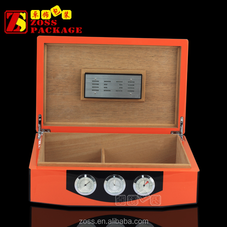 Custom single Layer Wood Glossy Finishing Luxury orange Cigar Box