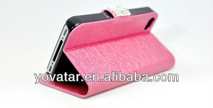Luxury silk camellia pattern leather diamond stand case for iphone5 multi colors