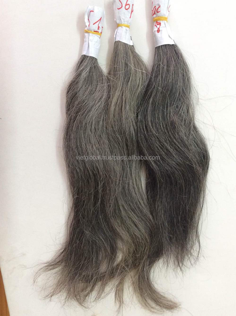 grey hair extensions from Vietnam manufactory high quality
