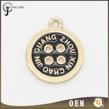 Trendy gold plated jewelry tag round charm pendant