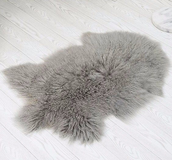 100 real peludo mongol tibetano cordero piel de oveja alfombra alfombra piel animal - Alfombra oveja ...