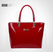 2015 new fashion patent leather handbag office ladies tote bag