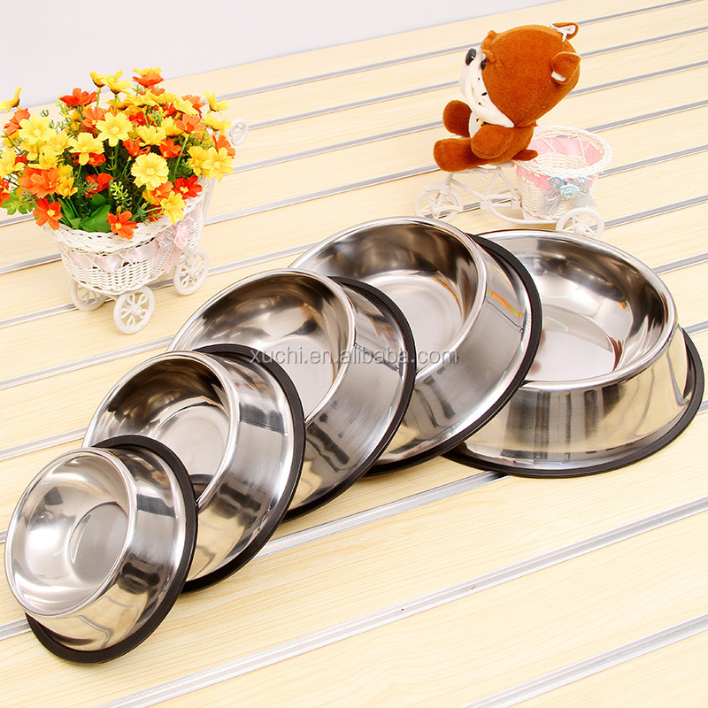 rubber ring dog bowel/stainless steel pet food bowl wholesale