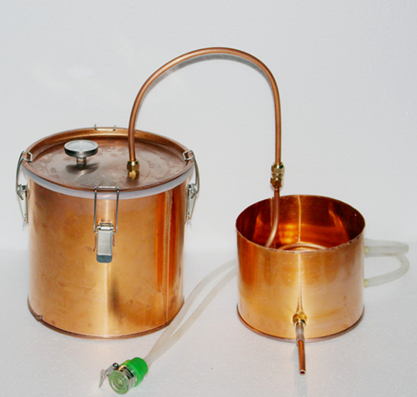 Wholesale 10L/3gal copper spirits alcohol distiller boiler pot still distillation equipment wine maker with thermometer