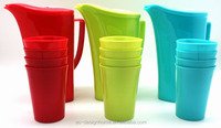 5 PCS RED, TURQUOISE, LIME GREEN, ORANGE 1.8L OVAL PP PLASTIC WATER PITCHER W/LID, SPOUT & 4 PCS 0.4L PP PLASTIC TUMBLER