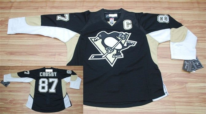 Wholesale jerseys/Pittsburgh Penguins #87 Crosby Black cheap ice hockey jerseys