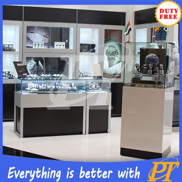 Display wooden with glass display cabinet and showcase for jewelry shop