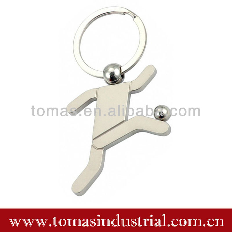 Promotional Simple Design Football Player Custom logo Sport Metal Keychain