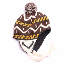 New winter jacquard knitted hat with earflaps