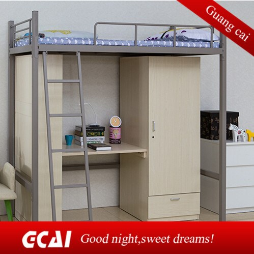 Metal frame high school dormitory economic bunk beds with study table