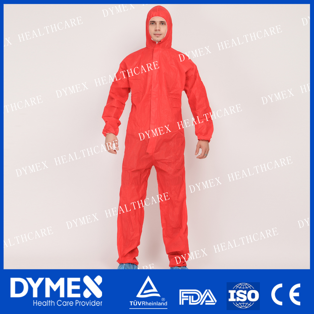 Economic Orange Disposable Coverall Type 5 6 CE Standard SMS Coverall
