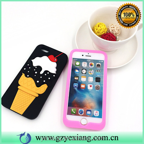 Cute 3d ice cream cherry silicone phone case for Samsung s3 back cover case